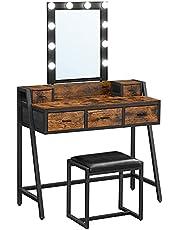 VASAGLE kaptafel, kaptafel, cosmeticatafel met krukje, 10 LED lampen, regelbare helderheid, spiegel, voor slaapkamer, kleedkamer, industrieel ontwerp, vintage bruin-zwart RVT015B01