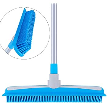MR.SIGA Soft Bristle Rubber Broom and Squeegee with Telescopic Handle- 12.4