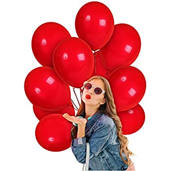 Merry Christmas Red Solid Balloons 12 Inch 36 Pack Thick Latex Bridal Shower Decor Valentines Day Decorations 4th of July Bulk Party Supplies for Wedding Birthday Graduation Independence Day