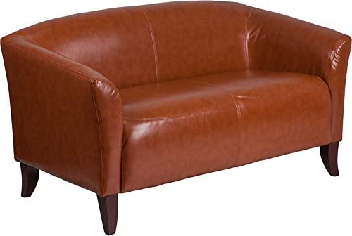Emma Oliver Cognac Leather Loveseat with Cherry Wood Feet