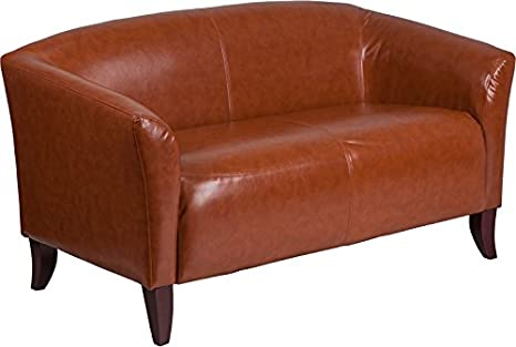 Wondrous Emma Oliver Cognac Leather Loveseat With Cherry Wood Feet Machost Co Dining Chair Design Ideas Machostcouk
