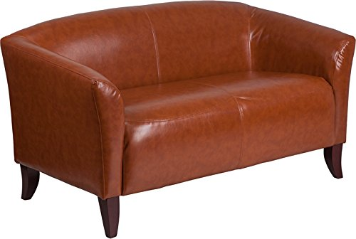 Emma + Oliver Cognac Leather Loveseat with Cherry Wood Feet ()