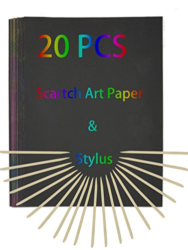 (20 Sheets)Scratch Art Paper-A4 Size with 20 Wooden Stylus-DIY Creative Draw for Kids/Teacher (Art Paper Sizes)