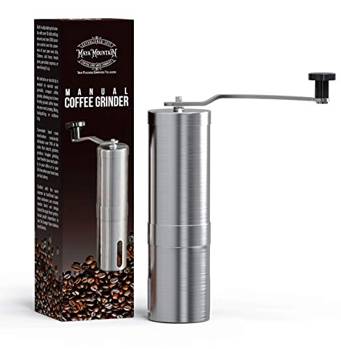 - Manual Coffee Grinder | Stainless-Steel Ceramic Burr | Hand Crank Personal Coffee Grinder | Portable Adjustable Mill | French Press, Pour Over, Drip Coffee by Maya Mountain