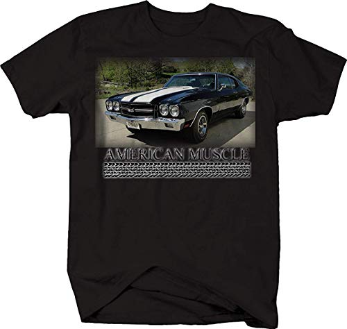 American Muscle Car Chevy Chevelle SS Racing Classic Tshirt Jet Black