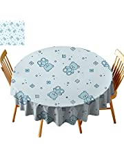"""Nursery 60"""" Table Cloths, Teddy Bears and Toys with Letters on Children Imagery Baby Blue Background Round Fabric Table Cover for Dining Room, D 60"""" Baby Blue Aqua"""