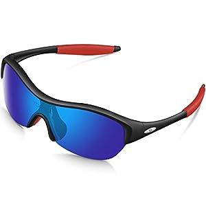 Torege Tr90 Flexible Kids Sports Sunglasses Polarized Glasses for Boys Girls Age 3-15 Trk001 (Black&red)