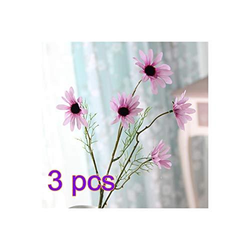 BELUPAID 3 Pack 5 Head Artificial Gerbera Daisy Flowers High-Grade Cosmos Bouquet Fake Small Wild Chrysanthemum for Home Wedding Hotel Office Cafe Restaurant (Purple)