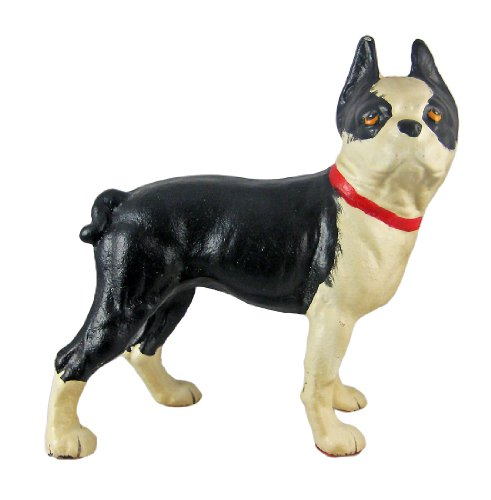 Things2die4 Cast Iron Statues X362 Cast Iron Boston Terrier Dog Statue Hand Painted 10 X 10 X 4.5 Inches Black
