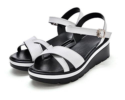 Sommer Sandalen Hang mit Sandalen weiblichen Studenten Sandalen erhöht Sandalen und Pantoffeln Sandalen weiblichen Fischkopf Muffin white