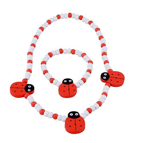 SmitCo LLC Little Girl Jewelry - Sets For Toddlers, Children - Stretch Ladybug Necklace/Bracelet