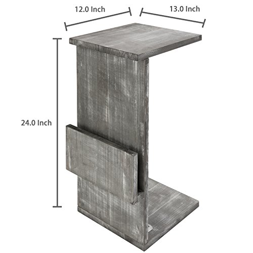 Gray Whitewashed Wood Sofa Side Table with Magazine Holder Rack, Under-the-Couch Sliding Tray by MyGift (Image #5)