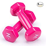 ZELUS Cast Iron Vinyl Coated Dumbbells Hand Weights for Women/Men Workout (Set of 2) (2)