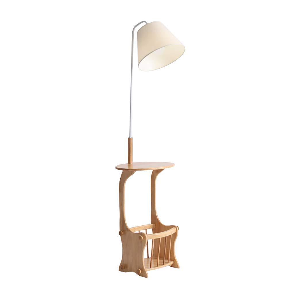 フロアランプソリッドウッド製ベッドサイドテーブルランプソファーシェルフランプ (色 : E) B07S52GLV9 E