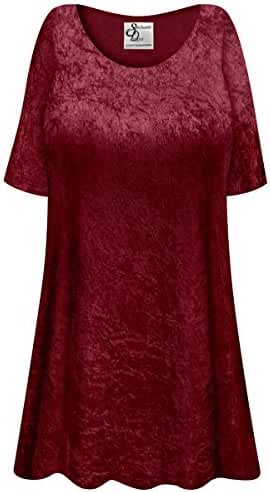 Burgundy Crush Velvet Plus Size Supersize Extra Long A-Line Top