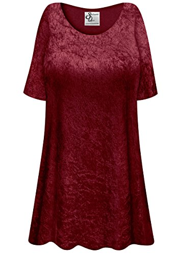 Burgundy Crush Velvet Plus Size Supersize Extra Long A-Line Top 7x