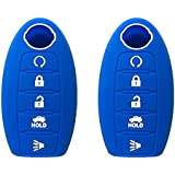 KAWIHEN 2pcs Silicone Smart Remote Key Fob Cover Protector For Nissan 5 button(blue)