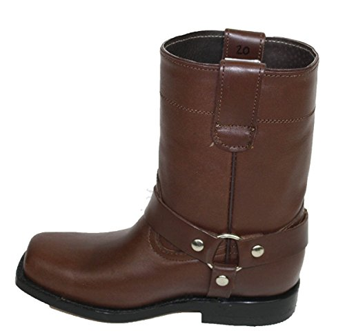 Harness Dona Soft Hide Cow 5 Leather Boots Motorcycle Kids Brown Unisex 7 Michi Toddler Genuine TqwZ1T