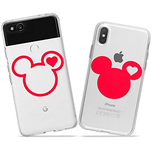 Wonder Wild Mickey and Minnie Couple Case iPhone Xs Max X Xr 10 8 Plus 7 6s 6 SE 5s 5 TPU Clear Gift Apple Phone Cover Print Protective Double Pack Silicone Walter Disney Characters Mouse Cartoon]()