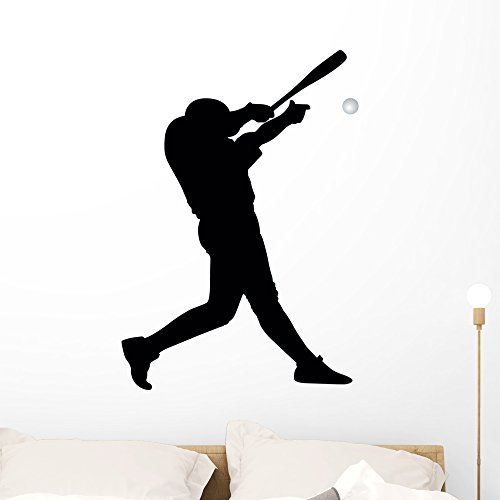 Wallmonkeys WM239201 Baseball Silhouette Wall Decal Peel and Stick Graphic (36 in H x 25 in W)