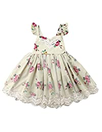 SUPEYA Kids Baby Girls Floral Ruffled Dress Party Gown Lace Tutu Formal Sundress