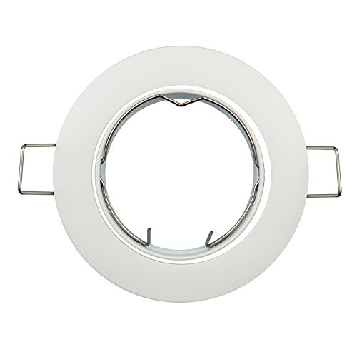 JOYINLED Pack of 10 Recessed GU5.3 MR16 Fitting Frost White Ceiling Downlight Fitting (Frost White) ()
