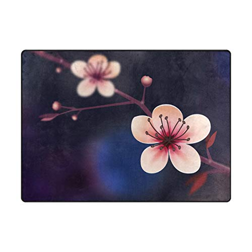 - S Husky Large Area Rug Gorgeous Cherry Blossoms Pattern Series Modern Minimalist Fresh Style Indoor Decorative Floor Mat Play mat Activity Rugs Exercise Mat Fitness Mat 80 x 58 in 2040433