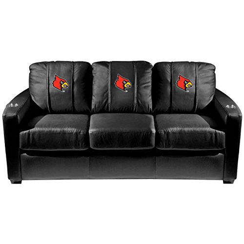 XZipit College Silver Sofa with Louisville Cardinals Logo Panel, Black