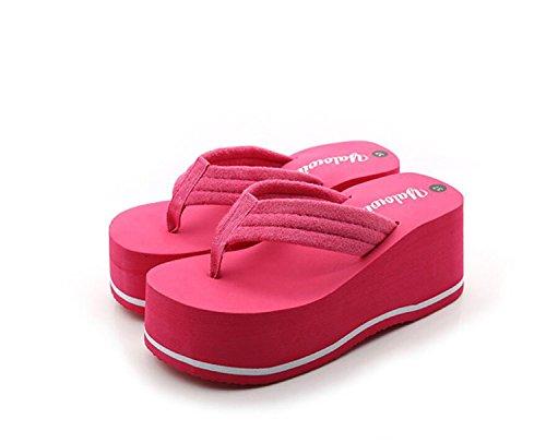 DANDANJIE Chanclas para Mujer Cuñas Talones Zapatillas y Chanclas Zapatos de Verano Antideslizantes de tacón Alto (Negro Rosa Blanco) Zapatos caseros Rosado