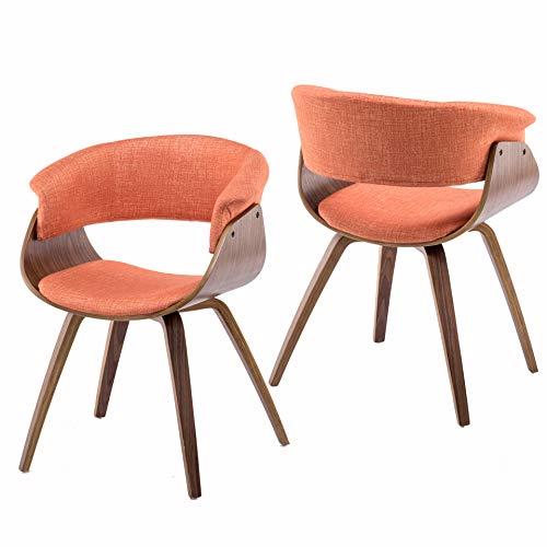 YEEFY Kitchen Chairs Walnut Wood Set of 2 Bent Wood Dining Chairs (Orange)