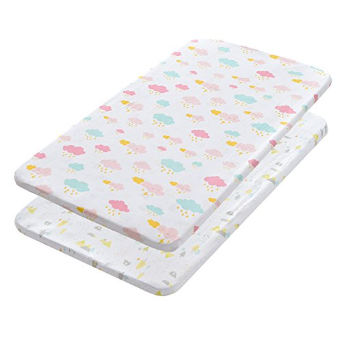 Gina Era Play Portable Crib Sheet Set 100% Jersey Cotton Unisex for Baby Girl and Boy,2 Pack(style5) by Gina Era