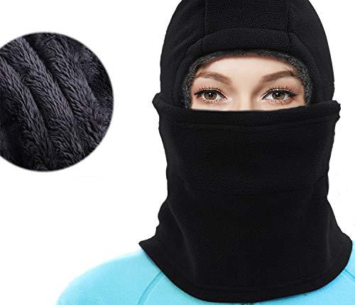 YQJYS Balaclava Ski Mask-Plus Velvet Keep Warm Tactical Hood-Mask Neck Lengthen (Black)
