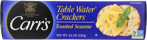 Carrs Table WaterCrackers Baked with Toasted Sesame Seeds 4.25 OZ (Pack of 12)