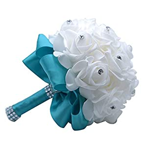 MOJUN Wedding Bouquets Crystal PE Roses Bridal Bridesmaid Wedding Hand Holding Bouquet Artificial Fake Flowers Toss Bouquet, Lake Blue