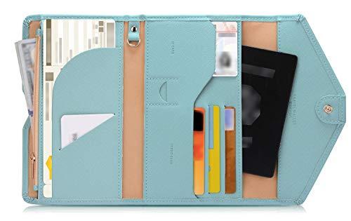 Zoppen Multi-purpose Rfid Blocking Travel Passport Wallet (Ver.4) Tri-fold Document Organizer Holder, 23 Paradise Blue