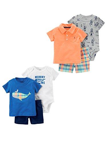 (Carter's Baby Boys' 6-Piece Bodysuit Tee and Short Set, Plaid Whale/Orange Polo, 12 Months)