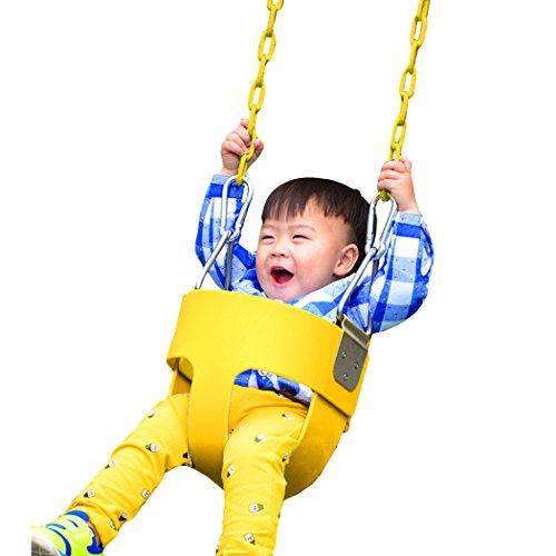 Tomasar High Back Full Bucket Toddler Swing set Toddler Swing Seat With Coated Chain for Toddler Kids Babies Infants (US STOCK) (Full Bucket Toddler Swing)