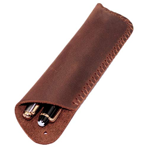 Handmade Genuine Leather Double Pen Case Fountain Pen Sleeve Holder Pouch Cover Vintage (Brown)