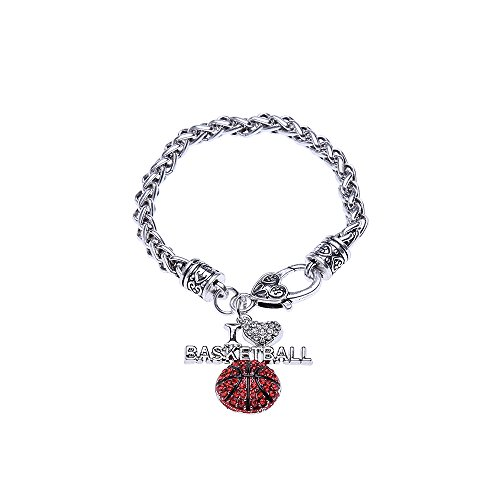 Lureme Silvertone Crystal I Love basketball Lobster Clasp Charm Bracelet (bl003115-2)