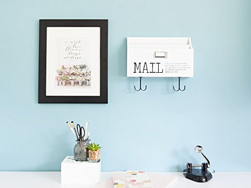 Blu Monaco Mail Organizer Wall Mount with Key Rack Hooks - Wood - Two Tier with Mail Print – for Office, Kitchen, Entryway by Blu Monaco (Image #2)