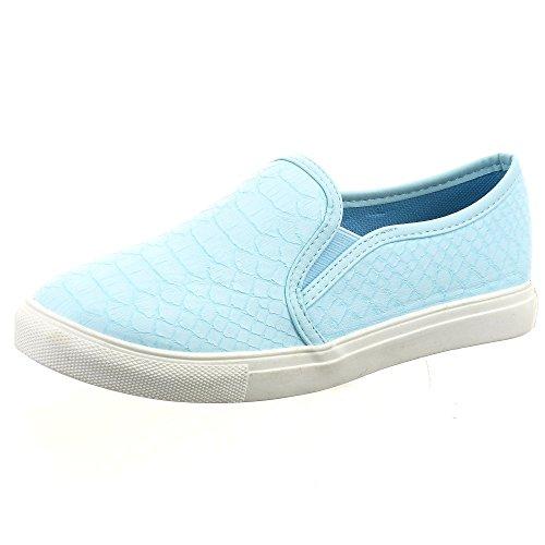 Sopily - damen Mode Schuhe Sneaker Slip-On Schlangenhaut - Blau