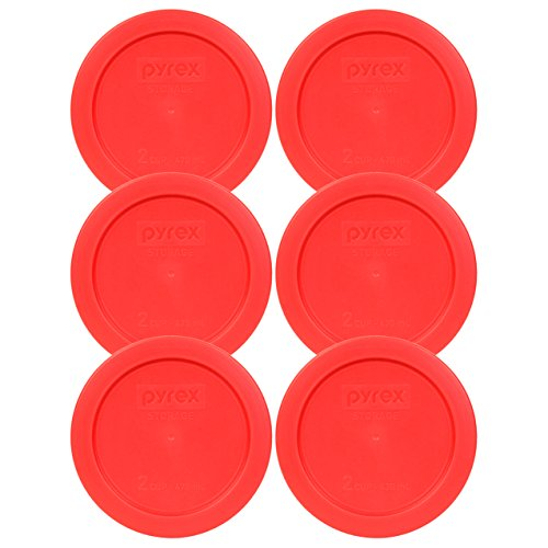 [Pyrex 7200-PC Red Round 2 Cup Storage Lid for Glass Bowl (6, Red)] (2 Cup Bowl)