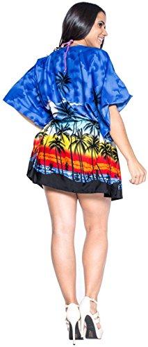 La Leela likre palma hula todo en 1 desgaste dsalón corta vestido ocasional tapa la túnica ropa playa cordones Paisley más szie kaftan elástico señoras la piscina fiesta en la playa dcorto encubren Azul Real
