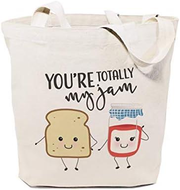 Food Pun Reusable Grocery Bag and Farmers Market Tote Bag