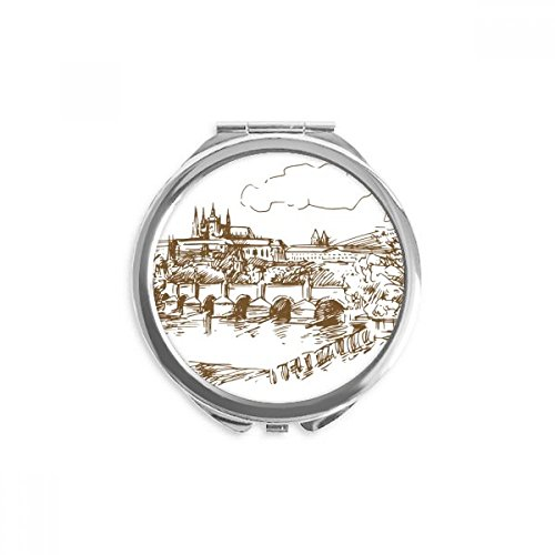 Charles Bridge Prague Czech Landmark Mirror Round Portable Hand Pocket Makeup (Charles Round Mirror)