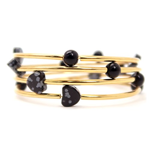 SatinCrystals Obsidian Snowflake Bracelet Boutique Black Round Gray Heart Gemstone Gold Curve Coil Memory Wire Wrap 3-Layered (Gray Round Bracelets)