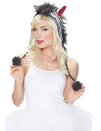 Zebra Hood Kit (Black/White) Adult Accessory (Hood Costume Accessories)