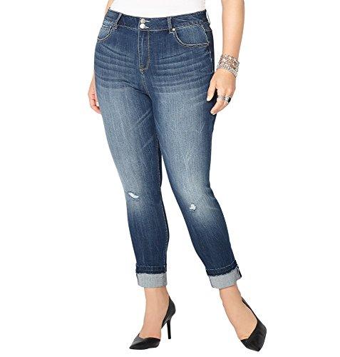 -AVENUE Women's Virtual Stretch Destructed Ankle Jean, 18 Dark Wash