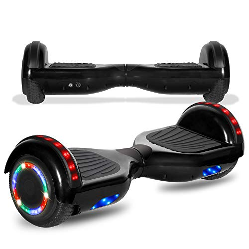cho Colorful Wheels Series Hoverboard Safety Certified Hover Board Electric Scooter with Built in Speaker Smart Self Balancing Wheels (Black) best to buy