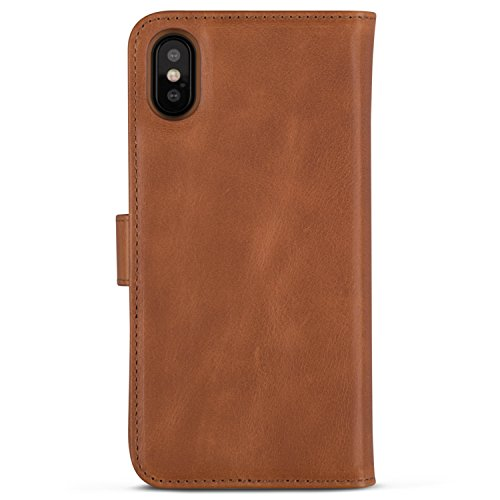 iPhone X Detachable Wallet Case Brown - KANVASA Premium Genuine Leather 2 in 1 Flip Folio Book Magnetic Cover for the Original iPhone X/iPhone 10 (5.8'') - Supports Wireless Charging Qi by KANVASA (Image #5)
